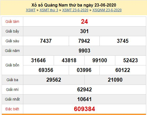 Bảng kết quả dò vé số Quảng Nam